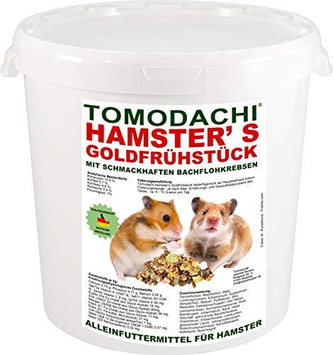 Tomodachi Hamsterfutter mit tierischem Eiweiß, Alleinfuttermittel für Hamster mit Bachflohkrebsen (Gammarus), leckerem Gemüse, Körnern und Saaten, Hamster\'s Goldfrühstück 1kg Eimer
