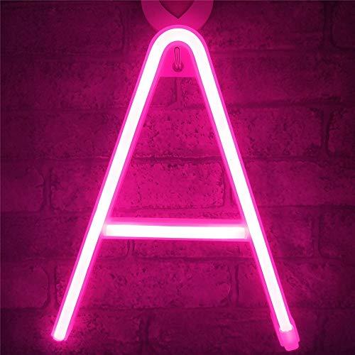 VIONNPPT LED Neon Brief Nachtlicht, Buchstabe Licht Alphabet Nachtlichter, Batterie/USB Powered, für Kinder Schlafzimmer Weihnachtsfeier Hochzeit Dekorationen, Rosa (A)