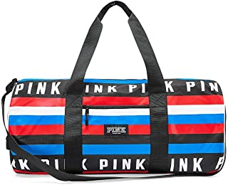 Victoria's Secret PINK Weekender Duffle Bag Travel Tote Red White & Blue Stripes