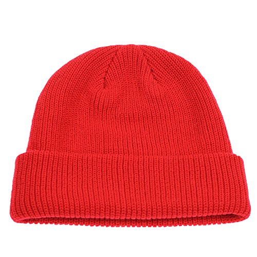 Connectyle Outdoor Classic Bassic Men 's Warm Winter Hats Daily Thick Knit Cuff Beanie Cap Red, 55 60cm