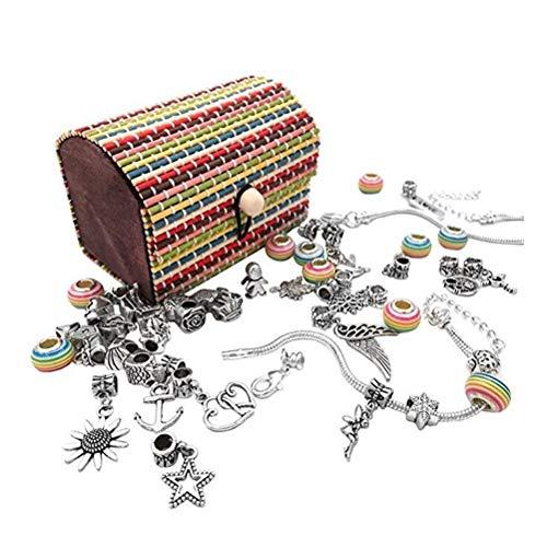 Akemaio Joyería Que Hace Kit Creativo para niñas, niños Pulsera Hacer Kits con Colgantes de los encantos de los Granos Cadenas para Hacer la joyería, Artes y Oficios Sets