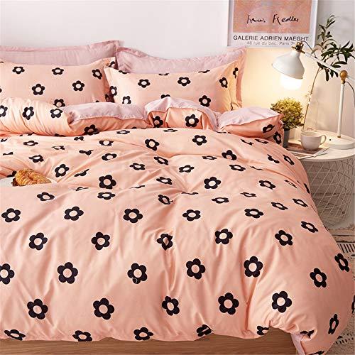 Surwin Duvet Cover Set Non-Iron Bedding 4 piece Cute Nordic Style Comfort Single Double King Size Microfiber Zipper Closure Quilt Cover 1 Flat Sheet 2 Pillowcases (Pink Flower,200x230cm)