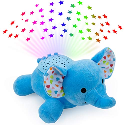 Sleep Soothers for Baby, Color Star Projector - Mucial Night Light Plush, LIGHTDESIRE Volume Control Stuffed Animal, Baby Soothing Sounds Machine for Newborns and Up, Blue Elephant