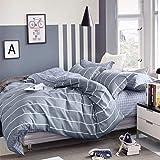 KEAYOO Bettwäsche 135x200 cm Baumwolle Grau Gestreift mit Reißverschluss 2