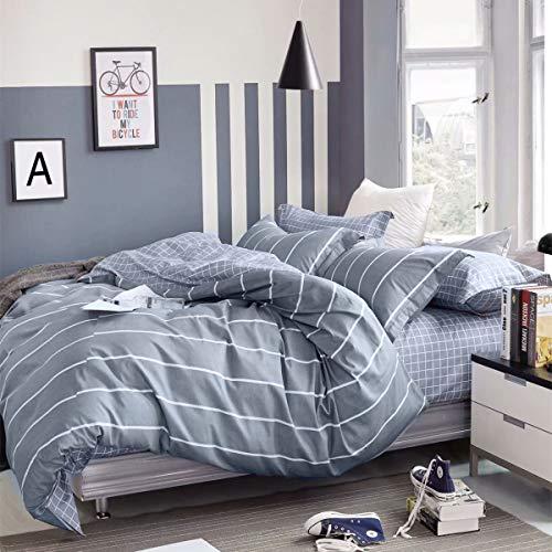 KEAYOO Bettwäsche 135x200 cm Baumwolle Grau Gestreift mit Reißverschluss 2 teilig