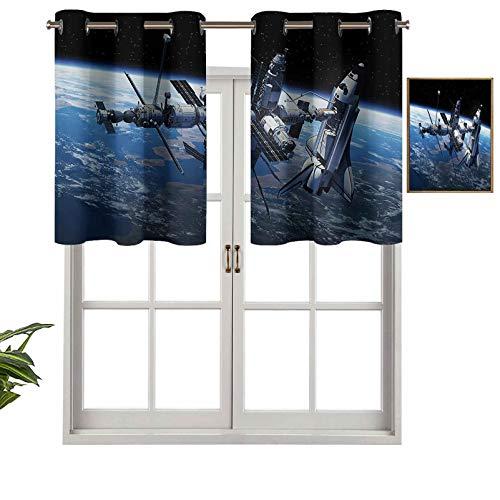 Hiiiman Window Curtain Valances Room Darkening Space Shuttle and Station View Cosmonaut Adventure on Myst Globe Orbit Off, Set of 1, 50'x18' Valances for Kitchen Window with Grommet