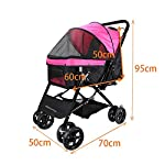 Display4top Pink Pet Travel Stroller, Foldable Four-Wheeled Trolley Suspension Commutation Cat and Dog Cart Large Travel Supplies Travel Goods Gear 11