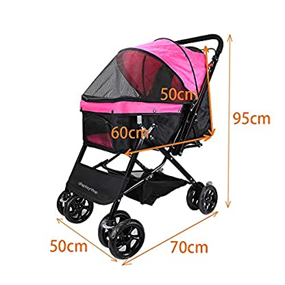 Display4top Pink Pet Travel Stroller, Foldable Four-Wheeled Trolley Suspension Commutation Cat and Dog Cart Large Travel Supplies Travel Goods Gear 4