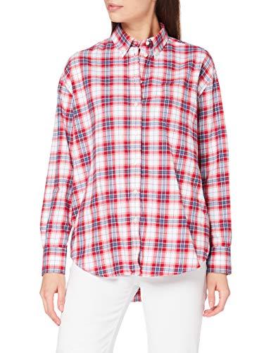 GANT Damen D2. Flannel Check Relaxed Shirt Hemd, Bright RED, 42