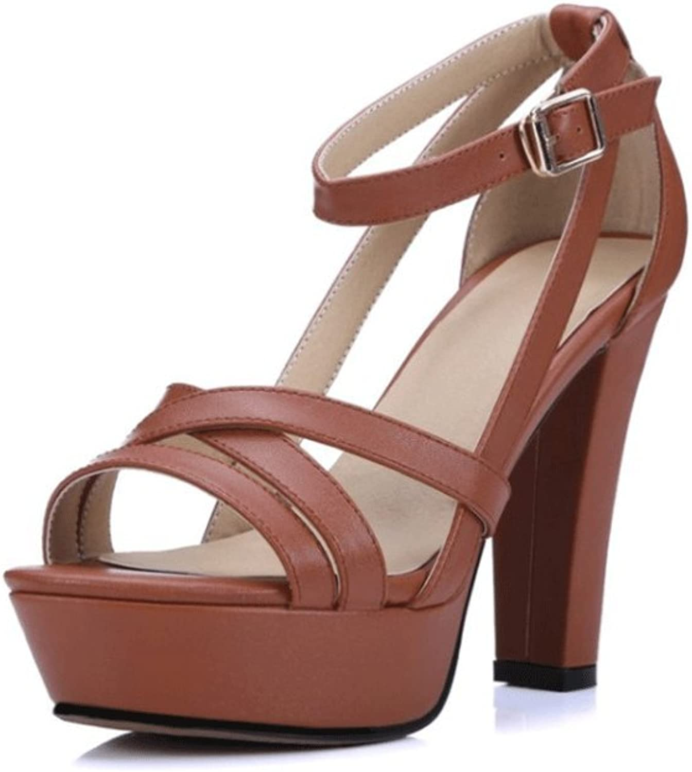 Women's Leather Sandals Waterproof Platform Thick High Heels (color   Brown, Size   EU36 UK3.5 CN35)