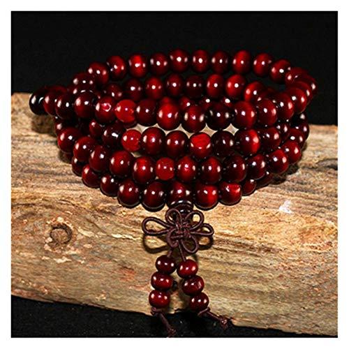 HUIJUNWENTI La oración Unisex Hombres Mujeres Yoga 108 Cuentas de Madera de sándalo Buda Budista Natural Pulsera de Cuentas de Lotus Rosario Collar de la Pulsera (Color : Deep Red)