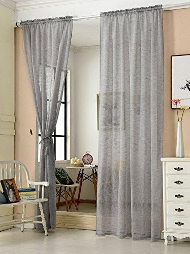 WOLTU VH5859dgr-2, 2er Set Gardinen transparent mit Kräuselband Leinen Optik, Doppelpack Vorhang Stores lichtdurchlässig Fensterschal für Wohnzimmer Kinderzimmer Schlafzimmer, 140x245 cm Grau