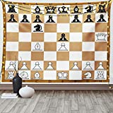 Lunarable Board Game Tapestry King Size, Opening Position on Chessboard Letters Numbers Squares Pieces Print, Wall Hanging Bedspread Bed Cover Wall Decor, 104' X 88', Brown Black