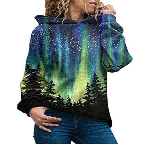 yanghuakeshangmaoyouxiangong Winter Damen Fleece Langarm Hoodie Weihnachtsbaum Print Pullover Street Hipster Sweater