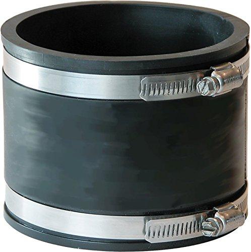 Flexible Rohrverbinder, Flexmuffe, Flexfitting aus PVC Elastomer für Teichverrohrung, den Pumpeneinbau, die Reparatur oder Sanierung undichter Rohrstellen im Haushalt, Garten und am Koiteich 160mm