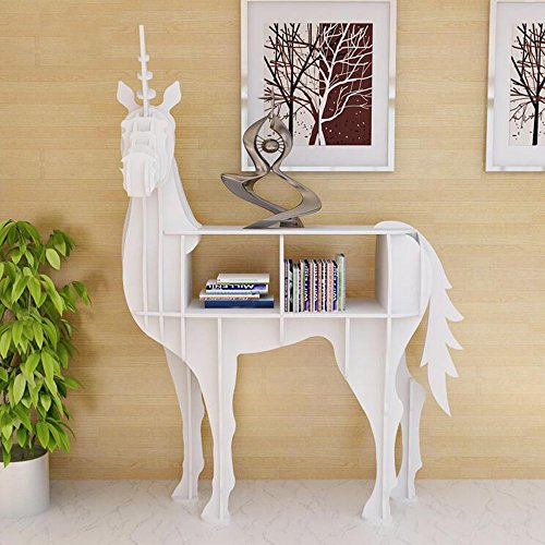 ORPERSIST Regal Landing Storage Ornamente Holz Turn Around Unicorn Modellierung Bücherregal Home Furnishings Fenster Display,S
