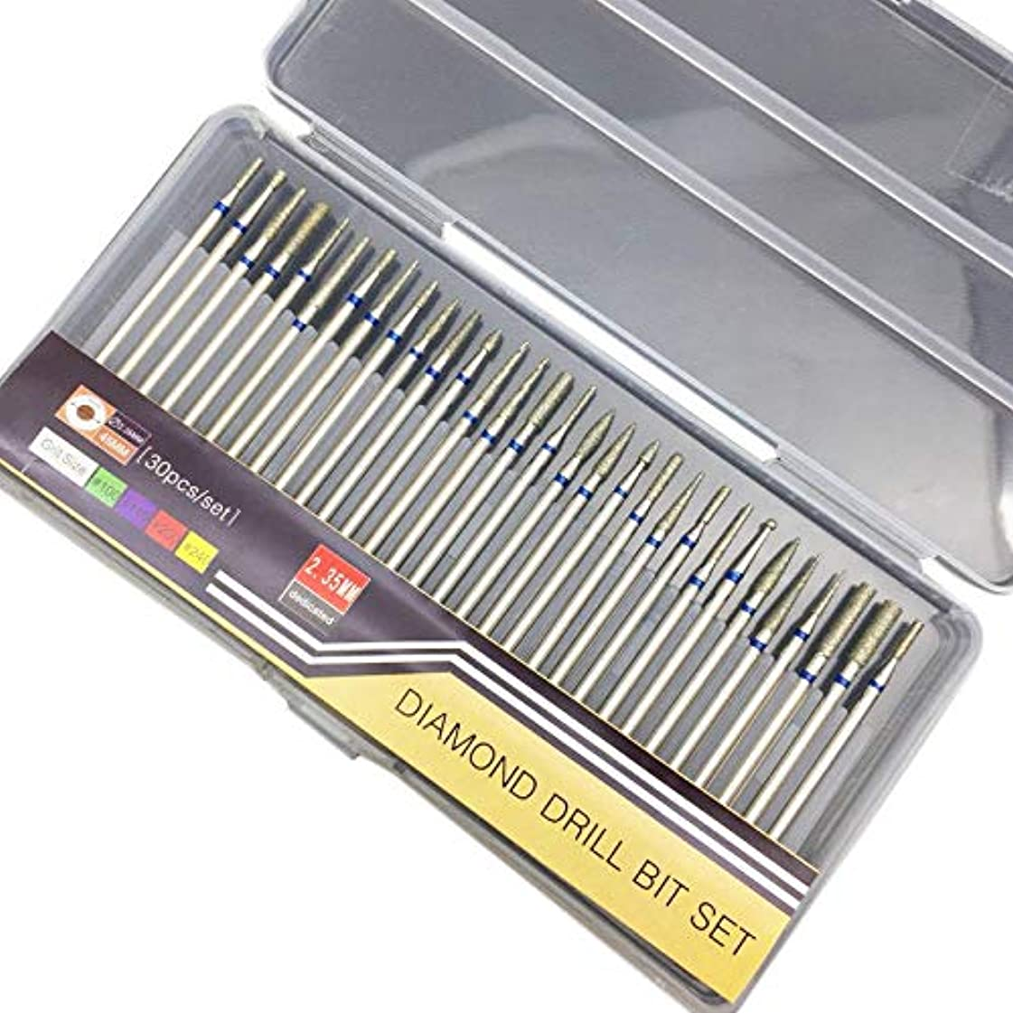CUHAWUDBA 30個 電動マニキュア機用アクセサリーセクションダイヤモンドネイルドリルビットセットフライスカッターロータリーバリカッタークリーンファイルC