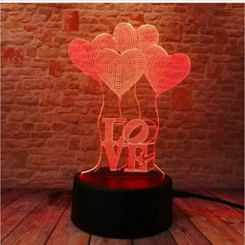 3D LED Illusionslampe Visuelle Romantik Liebe Herz Luftballons Glühbirne Optisch 7 Bunte Weihnachtsnacht Licht Honig Hochzeit Geburtstag Weihnachten Geschenklampe