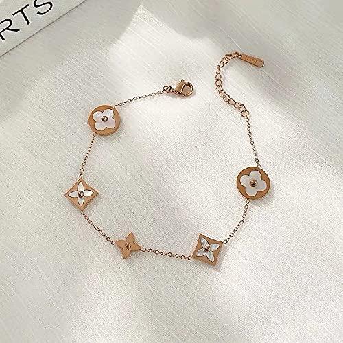 GXIXI Vier-Blatt-Blumen-Armband, Gold-Titan-Stahl-Armreif mit Micro-Inline-Muscheln, Damen-Handgelenk Justierbare Schmuckzubehör Geschenke (Color : Rose Gold)