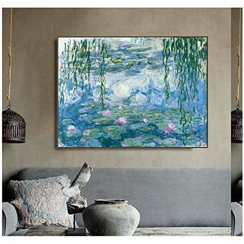 sjkkad Seerosen, van Monet Poster en druk canvas schilderij kalligrafie wandschilderijen voor woonkamer slaapkamer wooncultuur -60x80 cm zonder lijst