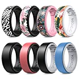 CHICMODA Silicone Rings Women Mens,8 Colorful Silicone Rings for Women, Women's Rubber Wedding Band, Breathable Design Durable Comfortable Safe for Sports Fitness Workout Housework,8mm Wide,Size 5-12