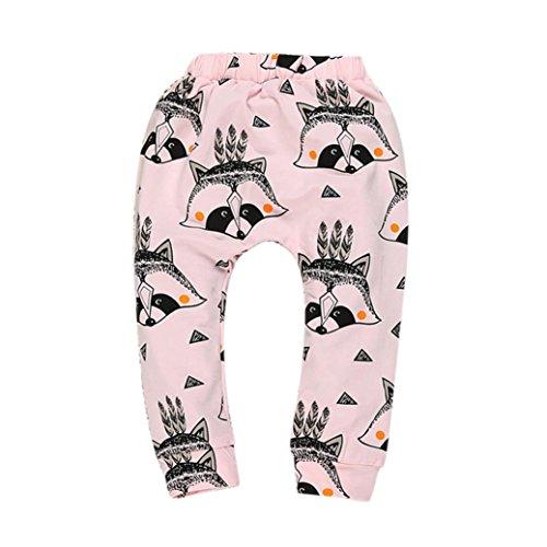kingko® Garçons Filles Bébés Pantalons Bas Pantalon Sarouel PP Enfants Leggings (1-4 Mois, Rose)