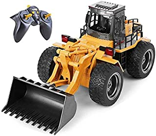 Top Race 6 Channel Full Functional Front Loader, RC Remote Control Construction Toy Tractor with Lights & Sounds 2.4Ghz (TR-113G)