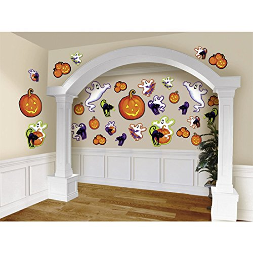 NET TOYS Décoration de Salle Halloween Décoration Murale Citrouille 30 pièces Déco de Mur Mignon Thème Soirée Décor Fantôme Fête d'halloween