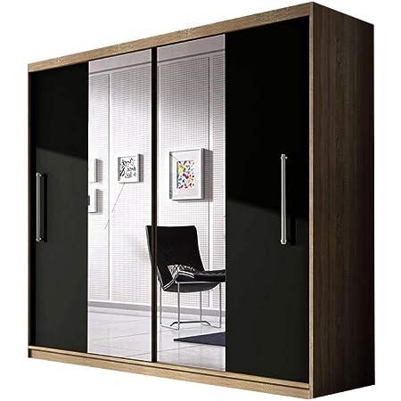 E-MEUBLES Armoire de Chambre avec 2 Portes coulissantes | Penderie (Tringle) avec étagères (LxHxP): 204x218x58 Nico avec Miroir (Sonoma+ Noir+ Miroir)