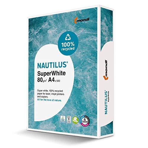 Mondi 88020366 Recycling-Papier Premium, Recycling-Druckerpapier Nautilus Superwhite 80 g/m ² A4, 500 Blatt, CIE-Weiße=150
