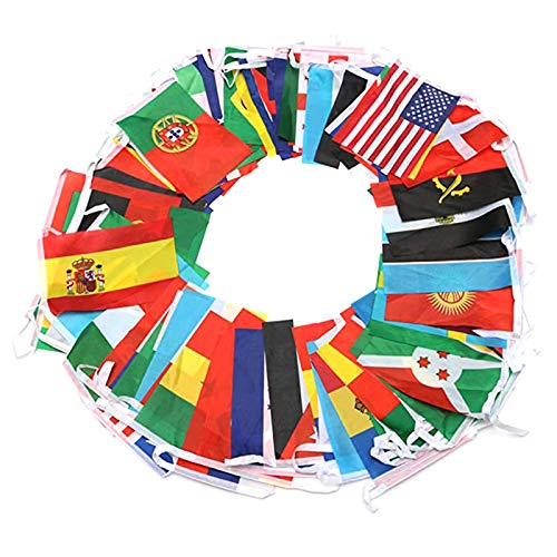 S-TROUBLE 100 Countries String Flag, International Bunting Pennant Banner, Decoration for Grand Opening, Sports Bar, Party Events