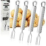 COM-FOUR® forchetta per patate con rivestimento 4x con 3 punte, in acciaio inossidabile, riutilizzabile come spiedino di mais, aiuto per pelare (04 pezzi - acciaio inossidabile)
