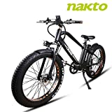 NAKTO 26'' Electric Bicycle Fat Tire Ebike Mountain Electric Bike with 6-Speed Gear 500W Brushless Motor and 48V 12AH Lithium Battery,Lock and Charger