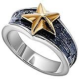 Beydodo Gothic Ring Silber 925 für Herren Vintage Gold Stern Silber Freundschaftsring Große 60 (19.1)