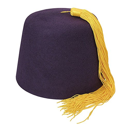 Village Hats Village Hats Dunkelvioletter Fez Hut mit Goldener Troddel - S