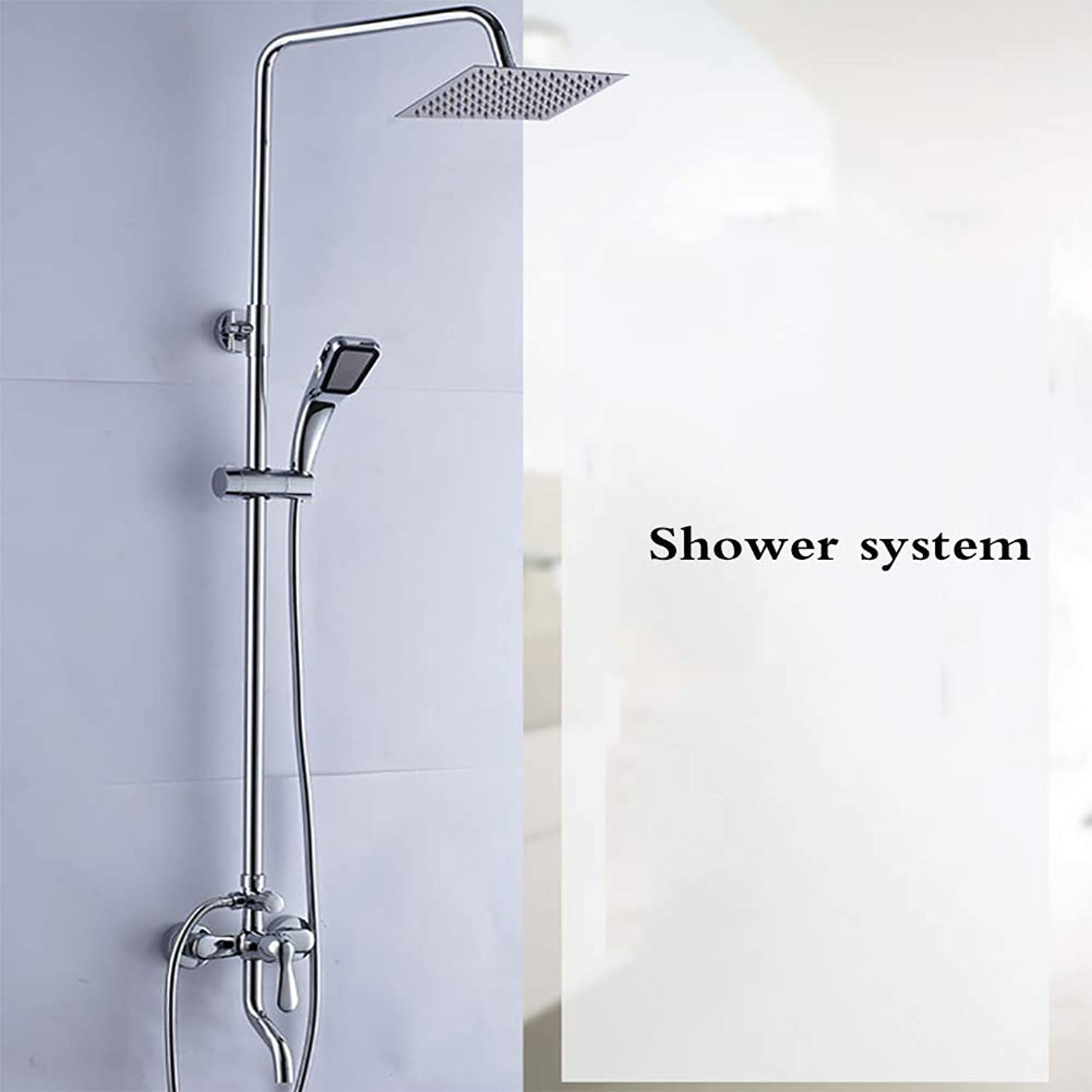 Shower System - Bathroom Thermostatic Mixer Shower Valve With Square Rain Shower Shower Head And Hand Held.