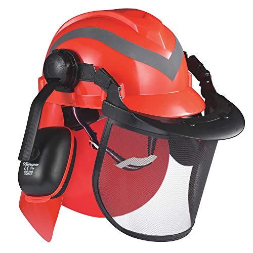SAFEYEAR Pro Forestry Kettensägen-Schutzhelm mit verstellbaren 27SNR-Ohrenschützern, Netzvisier. M-5009OR EN397 Schutzhelm für Kettensägen, Forstarbeiten und Landschaftsgestaltung(rot)