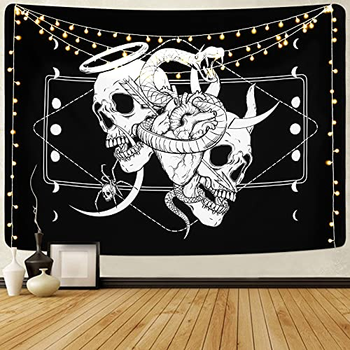 Skull Tapestry Skeleton Tapestry Gothic Tapestry Human Heart Tapestry Snake Moon Phase Tapestry Black and White Tapestry Wall Hanging for Room(51.2 x 59.1 inches)