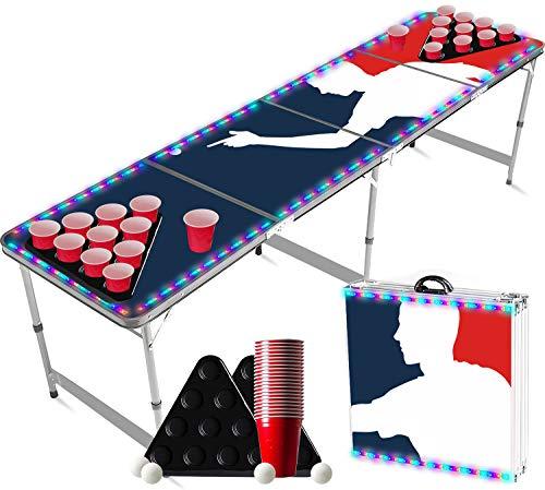 Juego de Beer Pong Flash con Luces LED | 1 Mesa + 2 Estantes + 22 Copas Rojas + 4 Bolas | Mesa Oficial | Juego de Beber | OriginalCup®