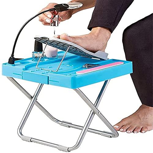 HHYSPA Pedicure Stool Chair with Footrest, Led Light Folding Pedicure Footrest, Adjustable Pedicure Stool Pedal, Suitable for Women, The Elderly, Children