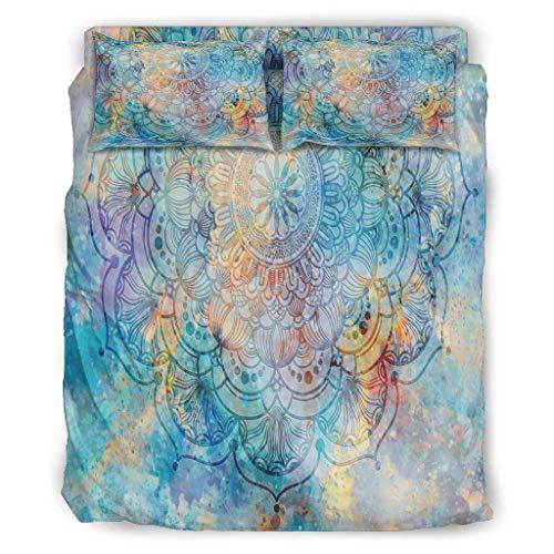 DAMKELLY Store Parure de lit Magie psychédélique ultra douce – 1 housse de couette & 2 taies d'oreiller & 1 couvre-lit pour Home Lodge White 203 x 230 cm