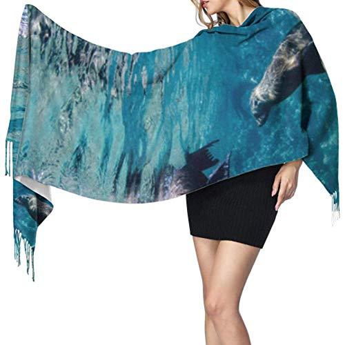 Kevin-Shop 27 'x 77' grote sjaal lichte schattige lelijke zeeloeuwen dier sjaal vrouwen sjaals stijlvolle grote warme deken