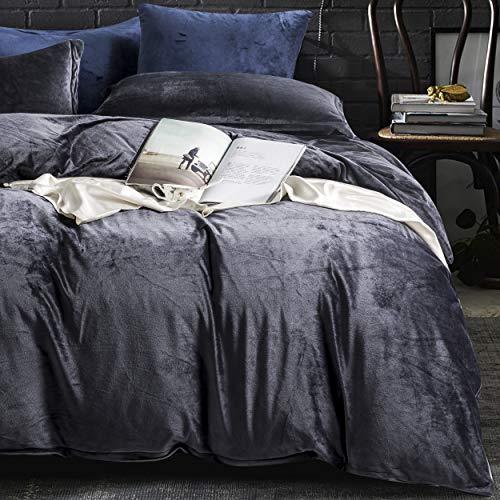NTBAY Velvet Flannel Duvet Cover Set, 3 Pieces Zippered Comforter Cover Set, King, Charcoal Grey