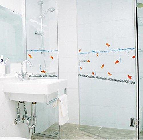 BIBITIME DIY Goldfish Swimming in the Water Wall Decals for Bathroom Glass Door Window Tile Sticker for Kids Room Nursery Bedroom