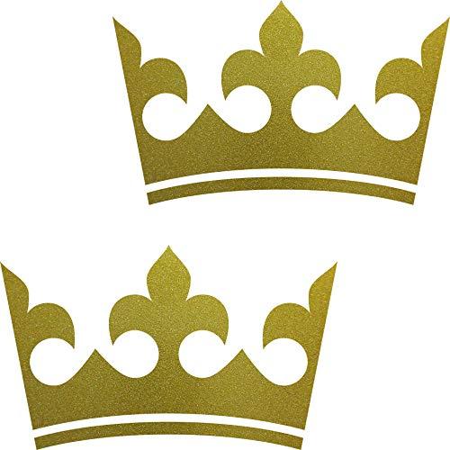 2 Aufkleber Krone 20cm gold Tattoo Auto Kinder König Möbel Tür Fenster Deko Folie