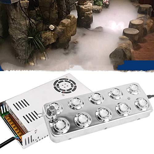 TZUTOGETHER Ultraschall-Nebelmaschine Fogger, 10 Kopf 3,5-5L/H Nebel-Luftbefeuchter mit Transformator für Lebensmittelkonservierung Industrielle Gewächshaushydroponik Garten/Teich