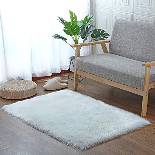 SXYHKJ Lammfell-Teppich Lang Kunstfell Schaffell Imitat | Wohnzimmer Schlafzimmer Kinderzimmer | Als Faux Bett-Vorleger oder Matte für Stuhl Sofa (Quadratisches Weiß, 75x120cm)