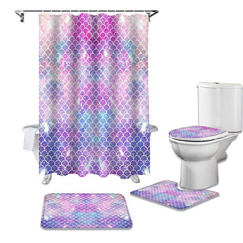 LEO BON 4-teiliges Duschvorhang-Set mit Teppichen & Handtüchern & Zubehör, glitzernde Meerjungfrauen-Schuppen, langlebig, wasserdicht, Duschvorhang, Anzug für Erwachsene & Kinder