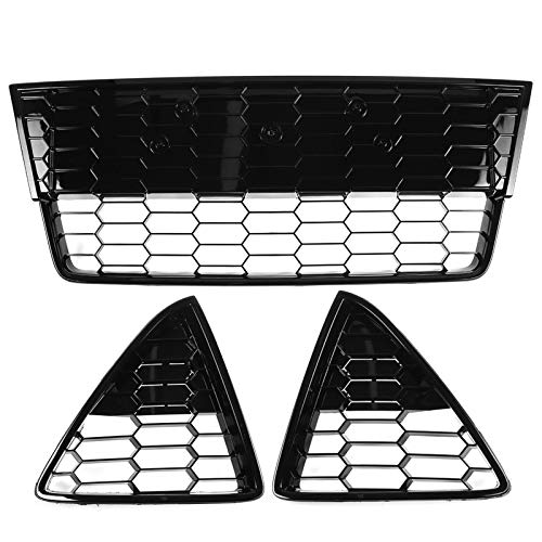 HTSM Parrilla Delantera para Ford para Focus MK3 2012 2013 2014 3 Uds Rejillas De Parachoques Delantero Malla De Panal Parrilla De Carreras Zetec S Estilo Rejillas Triangulares