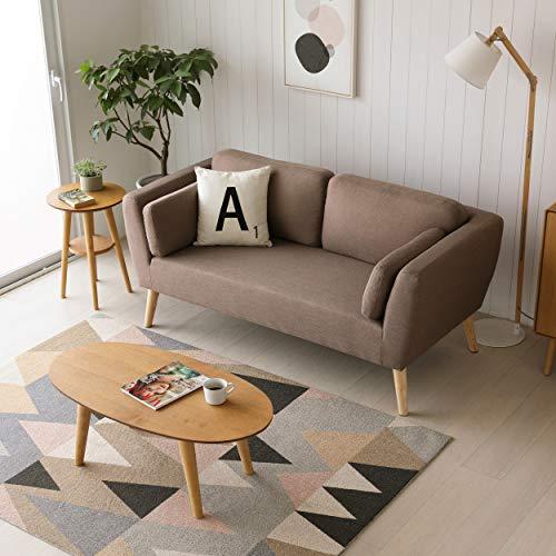 Mc Haus EVY - Sofá nórdico 2 plazas Cómodo color Marrón Tapizado en tela, diseño Nórdico 2 cojines, Salón Comedor 160x80x76cm